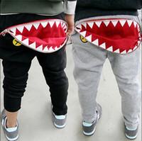 Wholesale High Waist Pants For Babies - Wholesale-2015 spring autumn children's clothing child baby boy zipper shark style harem pants boys trouser for kid pant