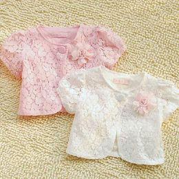 Wholesale Short Sleeve Cardigans For Girls - Wholesale-Hot sale pink white girls knitted cardigan short-sleeve lace cotton girl coat for 2-12T short shrug for girls clothing 1508