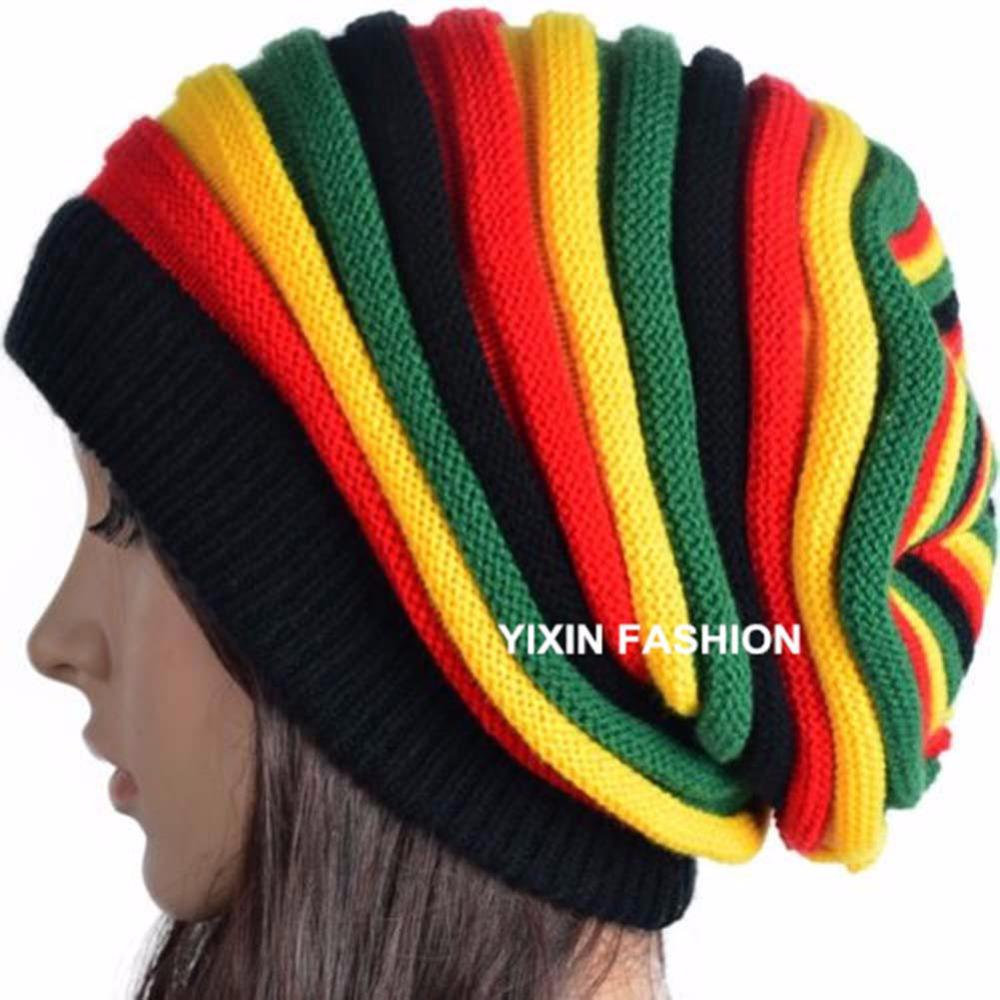 795a06eba3c Wholesale-Fashion Knitted Jamaica Cap Rasta Reggae Beanie Gorro Multi Color  Stripe Hip Hop Long Baggy Slouchy Beanies Skullies Hats Caps