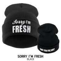 Wholesale Sorry Fresh - Wholesale-Popular Unisex 2015 Sorry I'm FRESH Men Women Cap with Letter Hats for Women Beanies Knitting Wool Winter Hat Cap Gorras