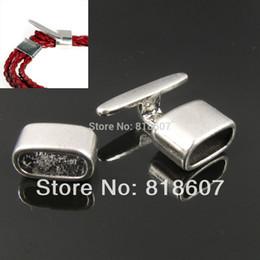 Wholesale Silver Findings For Leather Bracelets - Wholesale-Lots 9 Sets Hook Clasps Buckle Tibetan Silver Tone For Leather Bracelet Jewelry Finding