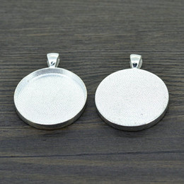 Wholesale Necklace Cabochon Base - Wholesale-Wholesale 10pcs 30mm size silver plated necklace setting pendant cabochon cameo base Tray bezel blank jewelry making findings