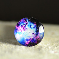 Wholesale Cabochon Images 14mm - Wholesale-10pcs Glass Cabochon DIY Universe Milky Way Galaxy image round glassdome jewelry finding 10mm 12mm 14mm 16mm 18mm 20mm 25mm 30mm