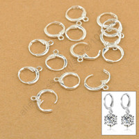 Wholesale Wholesale Silver Earwires - Wholesale-Hoop Drop Earrings Jewelry Findings 20PCS(10Pair) Real Pure 925 Sterling Silver Jewellery Leverback Ear Earwires 12MM
