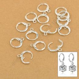 Wholesale Earring Leverback - Wholesale-Hoop Drop Earrings Jewelry Findings 20PCS(10Pair) Real Pure 925 Sterling Silver Jewellery Leverback Ear Earwires 12MM