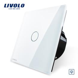 Interrupteur de gradateur de lumière blanche en Ligne-Livraison gratuite en gros, interrupteur variateur de lumière Livolo EU, panneau en verre en cristal blanc, variateur tactile, VL-C701D-11