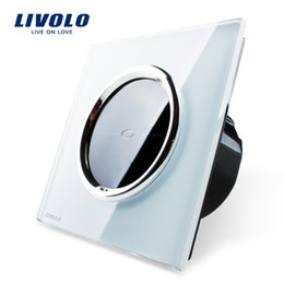Wholesale Livolo Touch Glass - Wholesale-Free Shipping, Livolo EU Standard, VL-C701-CR1,White Crystal Glass Panel, 110~250V Wall Light Touch Screen Switch+LED Indicator