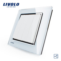 Livraison en gros-Free, Switch Livolo New Wall Light, White Crystal Glass Panel, Wall Light 4 Gang 2 Way Push Button Switch VL-W2K4S-12