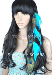 Wholesale Hair Feathers Grizzly Clip - Wholesale-2015 free shipping 1 pcs lot Clip On Feather Hair Extensions With Peacock Feather Blue Grizzly Sanp PP66