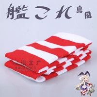 Compra Stock Amp-All'ingrosso-Halloween per adulti gioco Kantai Collection Cosplay Costumi Shimakaze Stocking Rosso Bianco Stirped coscia calza