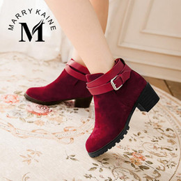 Wholesale Cheap Chunky Heel Platform - Wholesale-Cheap Women Ankle Boots Vintage Chunky Med High Heels Spring Autumn Shoes Belt Strap Platform Motorcycle Boots for Women