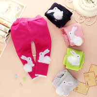 Wholesale Girls Warm Trousers - Wholesale-2015 Hot sale! Baby Girl Clothing Baby Warm Thickening Leggings Toddler Plus Velvet Pants Bebe Ropa Bunny Trousers