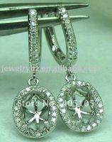 Wholesale Diamond Oval Earring Semi Mount - Wholesale-Romantic 6X8mm Oval Cut 14K White Gold & 0.38ct Diamond Semi Mount Anniversary Earring Setting
