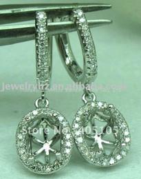 Wholesale 14k Gold Earring Setting Mountings - Wholesale-Romantic 6X8mm Oval Cut 14K White Gold & 0.38ct Diamond Semi Mount Anniversary Earring Setting