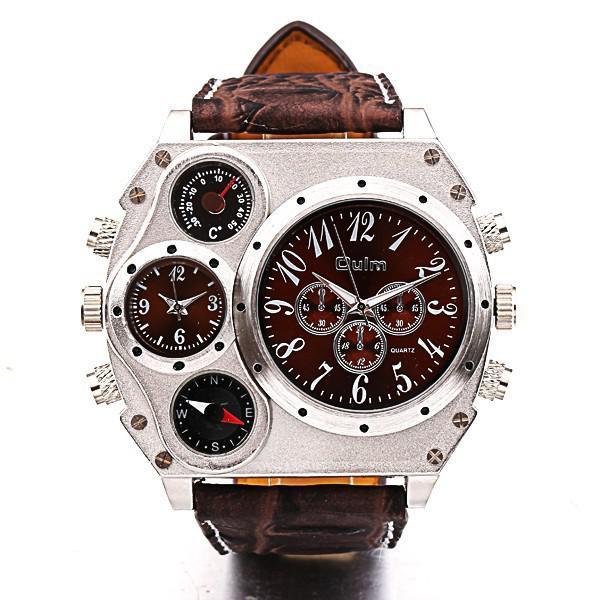 Wholesale-Oulm Quartz Wrist Watch 1349 Personalized Oversized Case Thermometer Compass Dual Quartz Movements Wrist men Watch