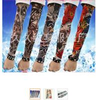 Wholesale Tattoo Prints Nylon Arm Sleeve - Wholesale-50 pcs   lot New 200 kinds of styles Nylon Stretchy Fake Tattoo anti-UV basketball sports Arm Sleeves warmer manguito Stockings