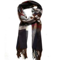 Wholesale Womens Scarf Cheap - Wholesale-80101 Womens Mens Fashion Designer Cotton Long Multicolor Scarves Winter Autumn Striped Cheap Tassel Scarf Plaid Wholesale