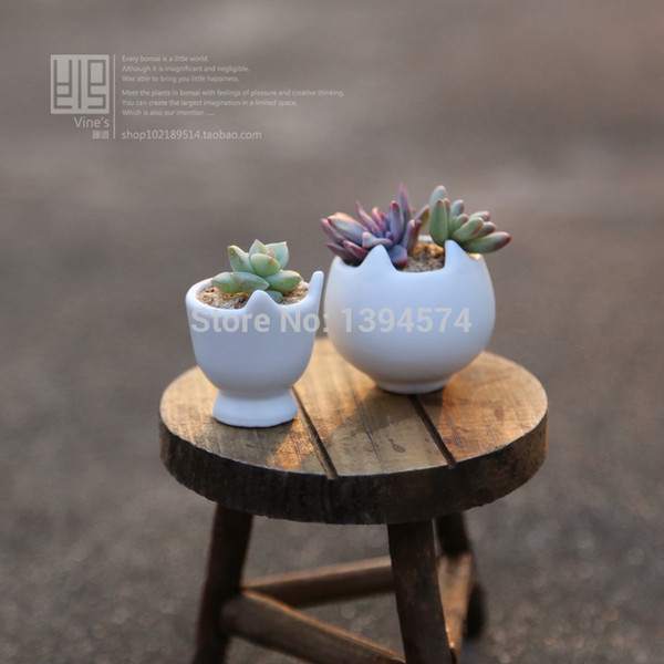 Wholesale-Free Shipping White Cat Mini Ceramic Pots For Plants Desktop Garden Home Office Decor vaso de flor