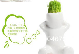 Wholesale Ceramic Flowering Pots - Wholesale-4 pc FREE SHIPPING Promotion Hot price Gift Hair Man grass Plant Bonsai