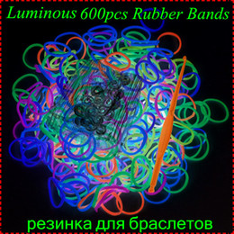 Wholesale Loom Band Luminous - Wholesale-Cheap Sale 1 pack (600pcs Bands) Luminous Colorful Loom Bands Refill For Make Rubber Bands Bracelets Gum For Bracelets