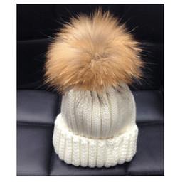 Wholesale L Beanie - Wholesale-L&C popular New arrive free shipping 15cm Raccoon big fur pom pom beanies winter hats for women
