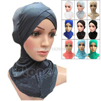 Wholesale Islamic Hats - Wholesale-E74 Free Shipping Muslim Cotton Full Cover Inner Hijab Caps Islamic Underscarf Colors Islamic Hats