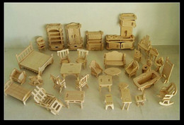 Discount diy kids furniture - Wholesale-Free Shipping DIY 1:16 Mini Furniture 34pcs set ,Kids Educational Dollhouse Furniture Set,3D Woodcraft Puzzle