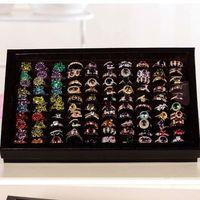 Wholesale black velvet ring display tray resale online - Jewelry Organizer Ring Display Tray Black Velvet Pad Box Slot Insert Holder Case Ring Storage Ear Pin Display Box Organizer earing