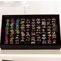 Wholesale Rings Display Black - Wholesale-New Jewelry Ring Display Tray Black Velvet Pad Box 100 Slot Insert Holder Case Ring Storage Ear Pin Display Box Organizer earing