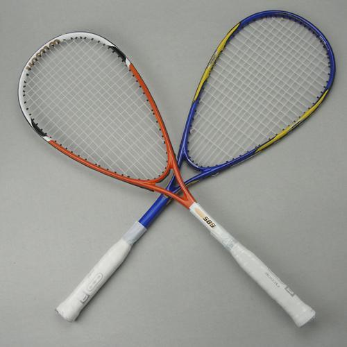 Atacado-squash raquete / squash raquete de liga de alumínio de carbono amarrado raquetes de squash cor: laranja / azul vêm com saco