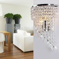 Wholesale Diy Crystal Knobs - Wholesale-DIY K9 Crystal wall lamp Stainless steel body+K9 crystal modern brief ofhead lamps bedroom light 2pcs E14 base