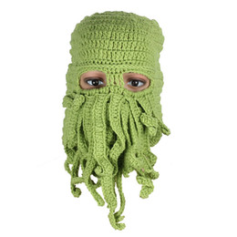 knitted face mask Promo Codes - Wholesale-1PC Unisex Octopus Winter Warm Knitted Wool Ski Face Mask Hat Squid Cap Cthulhu Tentacles Beanie Hat