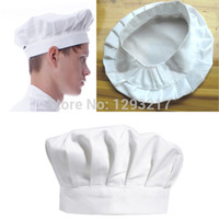 Wholesale Bbq Hat - Wholesale-Free Shipping(Track NO) Kitchen BBQ Cooking Baking Party Costume Cap White Adult Elastic Chef Hat TX3k