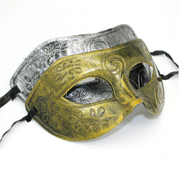 Wholesale Cosplay Costumes Fetish - Wholesale-Men's Greco-Roman Halloween tactical masquerade fetish costome hot selling cosplay mask gold and silver two-color optional