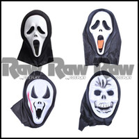 Wholesale Crazy Carnival - Wholesale-4 styles women men Fashion Crazy devil Scared Ghost Scream Face Mask with Hood For Halloween Party Carnival Cosplay RAW0314