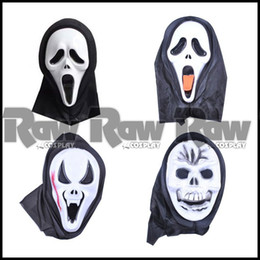 Wholesale Masks Hoods For Men Women - Wholesale-4 styles women men Fashion Crazy devil Scared Ghost Scream Face Mask with Hood For Halloween Party Carnival Cosplay RAW0314