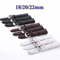 Wholesale High Priced Watches - Wholesale-Low Price Wholesale 18mm 20mm 22mm Black White Brown color High quality PU leather Wrist Watch Band Watch Strap Steel Buckle