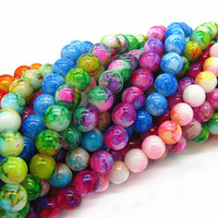 Wholesale Round Crackle Glass Beads - Wholesale-6mm 8mm 10mm Mix Color Round Shape Chunky Chic Loose Glass Crackle Beads for Jewelry Charms Spacer Beads HB439
