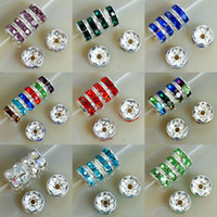 Wholesale 8mm Rhinestone Rondelle Beads - Wholesale-8MM Metal Silver Plated Crystal Rhinestone Rondelle Spacer Beads 11Colors For Choose 100Pcs Free Shipping (w03270-w03281)