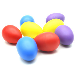 Wholesale Egg Rattle - Wholesale-Musical Instrument Pair of Egg Shakers Rattle Rustling Plastic Percussion Musical Toy for Kids KTV Party Games