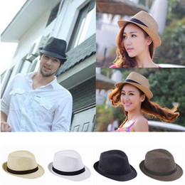 Wholesale Straw Mens Trilby Hats - Wholesale-10pcs bag Womens Mens Unisex Fedora Trilby Derby Gangster Cap Summer Beach Sun Straw Solid Panama Hat Couples Lovers Hat