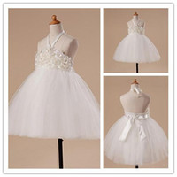 Wholesale Girl S Halter Pageant Dress - 2015 Hot flower girl dress -sale Ball Gown Tulle Halter Tea-length Flower Girl Party Dress Girl's Pageant Dresses s