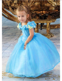 Wholesale Cinderella Dresses For Sale - 2015 Hot Sale Lovely Cap Sleeve New Movie Deluxe Cinderella Dress Cosplay Costume Party Dress Princess Dress Cinderella Costume For Kids