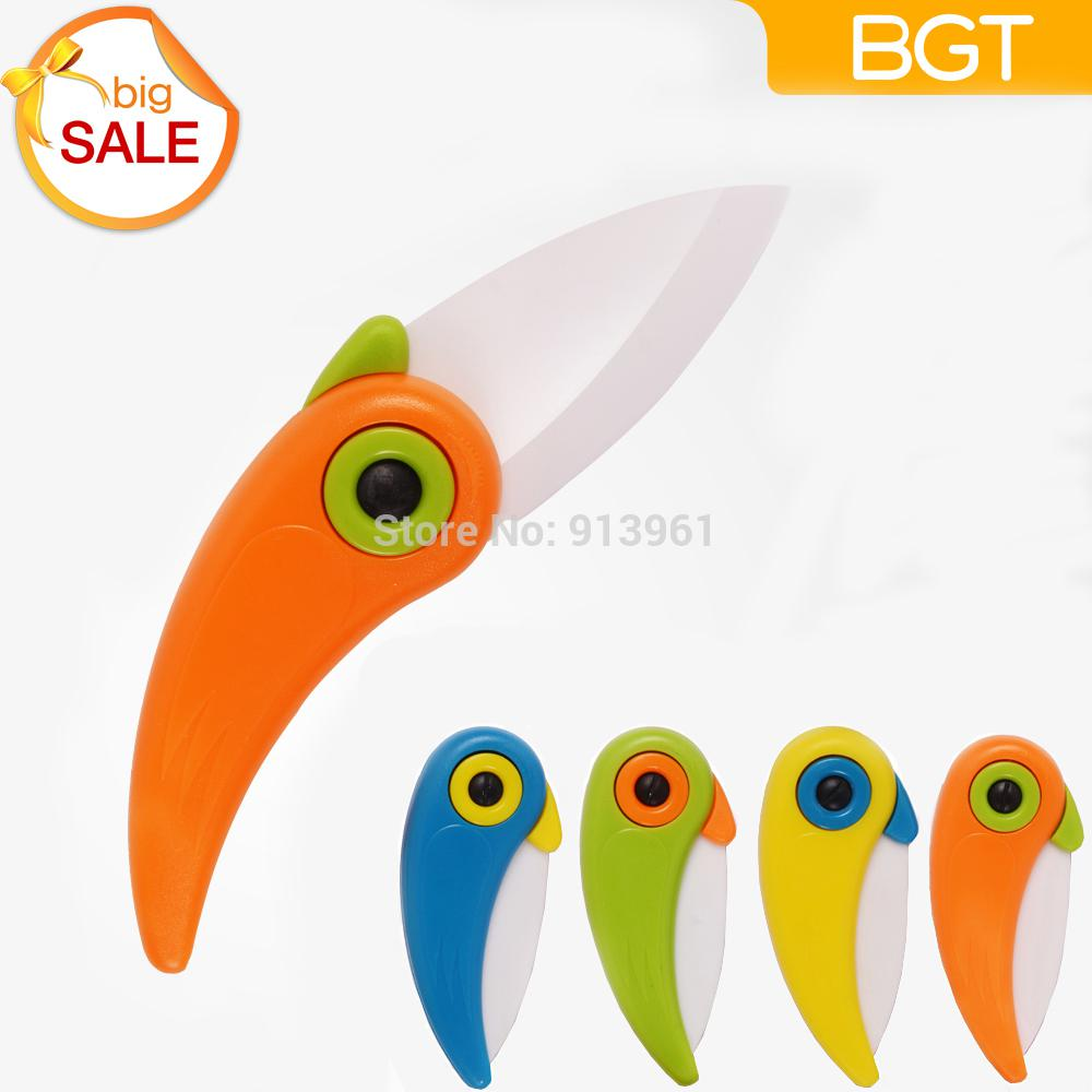 Wholesale-2015 Newst Mini Bird Ceramic Knife Gift Knife Pocket Ceramic Folding Knives Kitchen Fruit Paring Knife With Colourful ABS Handle