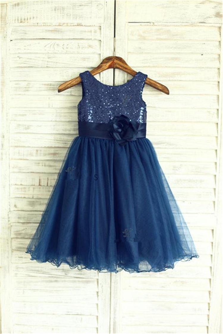 2016 navy blue sequin tulle flower girl dress curly hem wedding see larger image ombrellifo Choice Image
