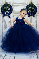Wholesale Ballgown Kids - 2015 Lovely Spaghetti Handmade Flower Flowergirl Dresses Dark Bllue Tulle Bead Princess kids Floor Length Bridesmaid Girl Pageant Ballgown