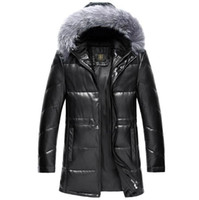 Wholesale Genuine Fox Fur Hat - Fall-2015 Men's Sheep Skin Genuine Leather Jacket Sliver Fox Fur Collar Hooded Fill With White Duck Down Coat Black Jaqueta Couro