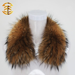 Wholesale Real Fur Scarfs - Wholesale-Big Real Natural Raccoon Fur Scarves For Winter Raccoon Fur Women's Cap And Hats HOT SELLING Fur Collar With Real