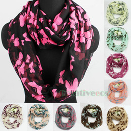 Wholesale Wholesale Endless Scarves - Wholesale-Fashion Stylish Women Girl's Butterfly Print Soft Infinity 2-Loop Cowl Eternity Endless Circle Casual Scarf New