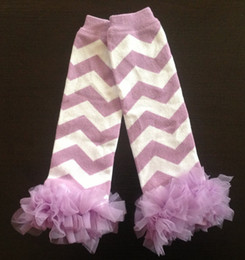 Wholesale Chevron Tulle - Wholesale-Lavender Chevron Leg Warmers Baby Outfit Leggings with Tulle Ruffles, Baby Girl Chiffon Baby Leg Warmer